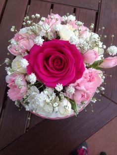Pink flower arrangement in a tea cup #pink #flowers #rose #carnations #gypsophila