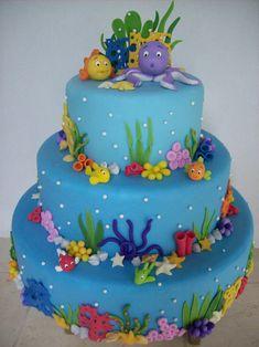 Creative Cake Decorating For A Kid's Birthday Creative Cake Decorating, Birthday Cake Decorating, Creative Cakes, Cookie Decorating, Shark Birthday Cakes, Mermaid Birthday Cakes, Mermaid Cakes, Ocean Cakes, Beach Cakes