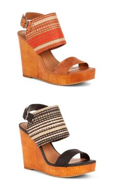 Platform woven wedges with leather front and ankle straps