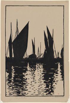 Henri-Charles Guérard (1846-1897) - Soleil couchant, Honfleur, 1895