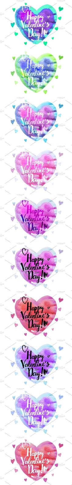 10 Watercolor heart. Valentine's day. Wedding Card Templates
