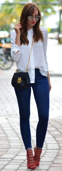 How to wear red pants casual heels 36 ideas White Shirt Outfits, Heels Outfits, White Shirts, High Fashion, Winter Fashion, Womens Fashion, Fashion Heels, Modern Fashion, Stylish Outfits