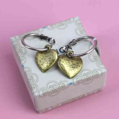 Danon Bronze & Silver Plate Love Heart Earrings available at Pink Cadillac Boutique www.pinkcadillac.co.uk