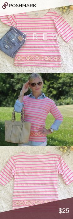 •J. Crew• Pink Stripped Aztec Top This top from J. Crew is in EUC and features elbow length sleeves, bright pink and cream stripes, aztec embroidery around bottom, and boatneck style neckline. Bundle and save on shipping! J. Crew Tops
