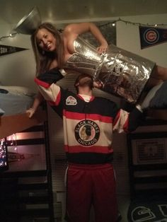 The coolest Halloween costume idea ever created....I'm not obsessed with hockey but this is hilarious!!