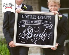 Personalized Here Comes the Bride Sign // Chalkboard Printable Wedding Sign // Custom Digital Artwork
