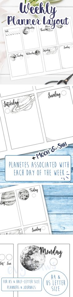 Weekly planner layout printable: A bullet journal weekly spread with an esoteric & minimalist vibe. Each day of the week corresponds with a planet (or the sun and moon, of course) and I've created ink illustrations of each to go along with this simple but functional weekly setup. Use the additional box for a weekly overview or add a small habit tracker, then write your to-do lists in the days' boxes. For more productivity and just a bit more creativity in your journals and planners!