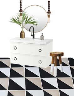 Bathroom Plans With Ikea Godmorgon Vanity - black and white and wood bathroom accents and decor, mat black faucet - Cuckoo4Design