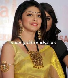Latest Indian Gold and Diamond Jewellery Designs: Praneetha in big nakshi pendant and earrings Nose Ring Jewelry, Diamond Jewelry, Gold Jewelry, Indian Jewellery Design, Jewelry Design, Designer Jewelry, Jewelry Accessories, India Jewelry, Temple Jewellery