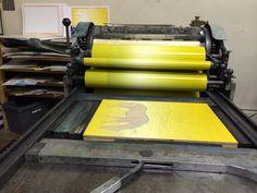 Blend roll on the Vandercook   justAjar Design Press