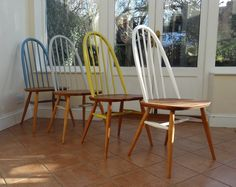 1960s Ercol quaker chairs. The chairs arrived in the workshop in a sorry state, so its a wonderful journey transforming them back to their formal