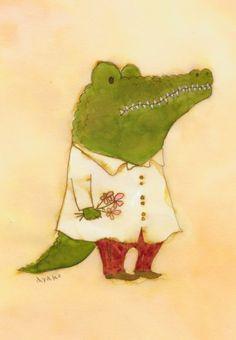 Cute Animal Illustration, Pattern Illustration, Children's Book Illustration, Watercolor Illustration, Illustrations, Nursery Stories, Crocodile Rock, Special Characters, Art Club