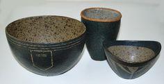 Trine Heegaard, bowls and vase i stoneware. Own studio Dennmark.