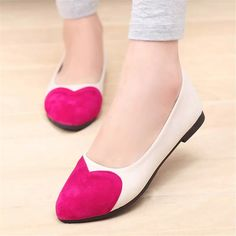2017 Fashion Cute Student Shoes Flat With Single Shoes Heart-Shaped Female Pointed Flat Shoes Fight Foreign Trade Women'S Shoes