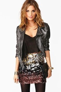 NYE idea- I like the skirt and black shirt but I wouldn't want it to be that short- something that could be tucked in