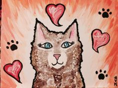 Cat Love Hearts and Paws Bright Painting 11 x 13 Acrylic