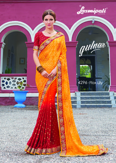 Get this amazing Yellow, Orange & Red Satin Silk Saree with Red Color Satin Silk Blouse along with Sequence work Border, Foil prints from Laxmipati Saree. #Catalogue #GULNAR Price - Rs. 3000.00 Visit for more designs@ www.laxmipati.com #GaneshChaturthi #GaneshChaturthi2016 #Ganesh #Monsoon #Shopping #Shoppingday #ShoppingOnline #fashionstyle #ReadyToWear #OccasionWear #Ethnicwear #FestivalSarees #Fashion#Fashionista #Couture #LaxmipatiSaree #Autumn #Winter #Women #Her…