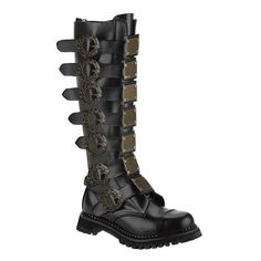 MENS SIZING Black Leather Combat Boots Steampunk Style Knee High Hardware Metal Plates Buckles Unknown. $209.95