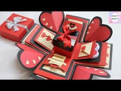 (54) How to make Explosion box / DIY Valentine's Day Explosion Box /Explosion Box Tutorial - YouTube Valentine Day Special, Valentine Day Cards, Valentines Diy, Boite Explosive, Explosion Box Tutorial, Exploding Gift Box, Shaped Cards, Easel Cards, Valentine's Day Diy