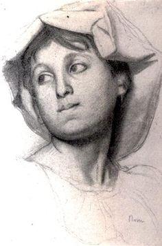 Head of a Young Roman Girl - Artista: Edgar Degas Data da Conclusão: 1856 Estilo: Impressionism Género: portrait Técnica: charcoal, pencil, stump Dimensões: 37,8 x 25,8 cm Galeria: Baltimore Museum of Art, Baltimore, MD, USA