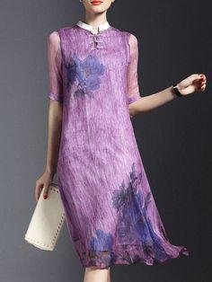 Printed/Dyed Silk #Midi #Dress