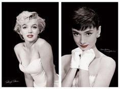 Marilyn monroe (left) Audrey hepburn (right)
