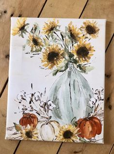 Your place to buy and sell all things handmade Autumn Painting, Autumn Art, Diy Painting, Painting & Drawing, Pumpkin Art, Sunflower Art, Watercolor Paintings, Fall Paintings, Acrylic Paintings