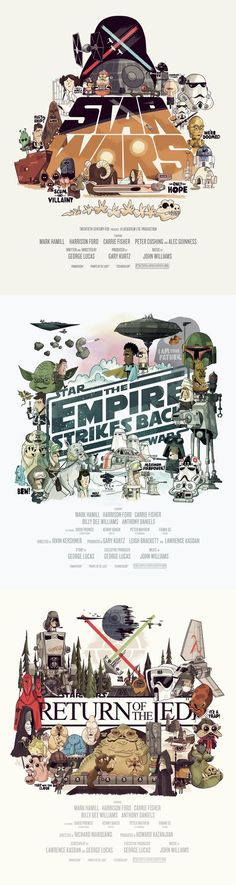 Illustrated Star Wars Posters As a big star wars fan you see so much the same kind of posters, this one is more in my field an makes me to do one also...