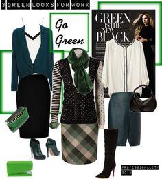 зеленая юбка, светлая блуза с контрастным кантом, трикотажный кардиган цвета темной хвои