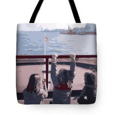 Towards The Wind Tote Bag by Marina Usmanskaya.  The tote bag is machine washable, available in three different sizes, and includes a black strap for easy carrying on your shoulder.  All totes are available for worldwide shipping and include a money-back guarantee.  Сhildren sitting at the stern of a ferry sailing along the Elbe in Hamburg from the port to the Philharmonic  #MarinaUsmanskayaFineArtDigitalArt #ArtForHome #HomeDecor #FineArtPrints #Hamburg #Elbe #children