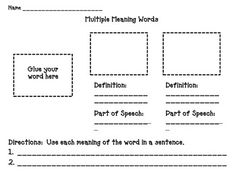 math worksheet : free multiple meaning words worksheet  grammar language  : Multiple Meaning Word Worksheets