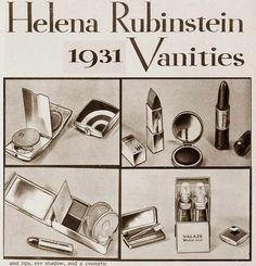 The Top Hollywood Beauty Gifts of Christmas Helena Rubinstein Makeup Vanities 1931 1930s Makeup, Makeup Ads, Retro Makeup, Antique Makeup Vanities, Vanity Makeup Rooms, Bathroom Vanities, Shabby Chic Vanity, Hollywood