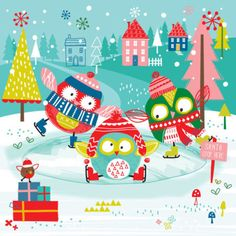 Sophie Webber - Sophie Webber Christmas Owl Skating Card