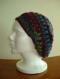 Handmade Crochet beanie/hat in a funky Blue/Purple/Red by Belisse, $18.00