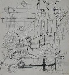 """Antonio BONILLA : Boceto: """"La Maquina de la Tortura"""" ; circa 1982-84 ; tinta y lapin sobre papel ; 24cm x 22cm ; adquirido en 1999 del artista"""