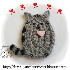 """damn it Janet, let's crochet!: Pusheen the Cat Applique ~ what an adorable little kitty ~ approx. size 2.5""""W x 3""""H but can vary based on yarn and hook size ~ FREE - CROCHET ~ love the kitty!"""