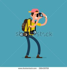 Cool vector photographer character web icon with cameras and backpack standing full length taking photos - stock vector