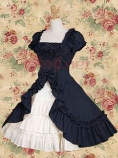 $112.95Classic Cotton Square Empire Knee-length Lolita #Dress #With #Ruffles