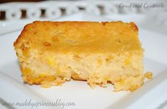 Made by a Princess Parties in Style: Recipe from a fellow Party Princess: Cornbread Casserole Cornbread Casserole, Casserole Dishes, Casserole Recipes, Cornbread Mix, Good Food, Yummy Food, Delicious Dishes, Brunch Drinks, Soft Foods