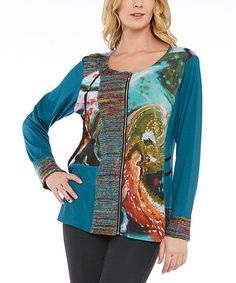 Look what I found on #zulily! Teal & Rainbow Abstract Scoop Neck Top #zulilyfinds