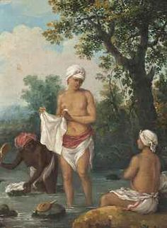 Augustin (Agostino) Brunias (1728-1796) Women of Dominica washing clothes in a stream
