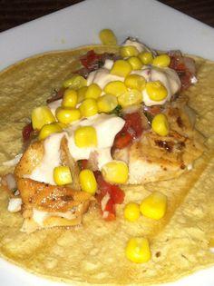 Talapia Fish Tacos with salsa fresco y salsa de chipotle