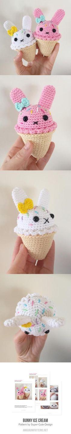 Bunny Ice Cream amigurumi pattern by Super Cute Design Used Iphone, Cute Designs, Super Cute, Amigurumi, Bunny, Ice Cream, Crochet Hats, Ipad, Lovers