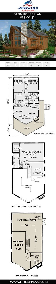 If you're thinking about building a 3-bedroom Cabin home, consider Plan 033-00132, with 1,721 sq. ft., 3 bedrooms, 2 bathrooms, a mudroom, an open concept, and a wrap-around deck.