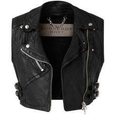 Burberry Cropped Leather Biker Waistcoat (€1.405) ❤ liked on Polyvore featuring outerwear, vests, jackets, tops, zip vest, leather waistcoat, cropped leather vest, genuine leather vest and leather biker vest
