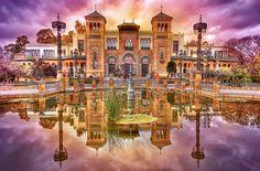 Plaza de America. Sevilla. Tercera version.   Flickr - Photo Sharing!  Revision utilizando Mystical lighting de un HDR a partir de un solo RAW