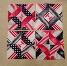3 Dudes jelly roll strips quilt in patriotic colors. This one is made with 4 strip sets. Very nice. Instructions at http://sisterofthedivide.blogspot.fr/2012/07/quick-fun-strip-block.html