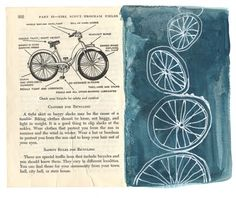 love drawing #bikes and bike tires...done on #vintage #girlscout handbook page