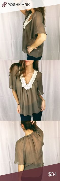 Katie K Taupe Brown Lace Trim Blouse NWOT This blouse is more of a brown taupe color and looks so nice against a bit of a tan.   Let me know if you have any questions   All sales final  No trades  Offers often accepted   Take a look in my closet as well Katie K Tops Blouses