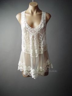 20s Vtg-y Boudoir Crochet Lace Embroidery Sheer Trapeze Cami Top 104 mv Blouse in Tops & Blouses | eBay